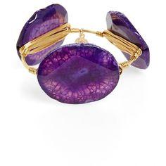 Bourbon and Boweties Agate Bracelet ($34) ❤ liked on Polyvore featuring jewelry, bracelets, purple, purple jewelry, handcrafted jewelry, handcrafted jewellery, bangle bracelet and polish jewelry