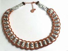 Ketten armband  Armband aus Muttern mit Lederband in Beere | Schmuck aus Muttern ...