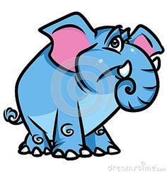 Blue elephant  cartoon illustration  isolated image animal character