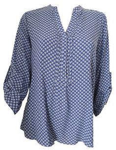 Blouse imprimée bleue manche 3/4 - CpourL Stitch Fix, T Shirt, Africa, Tops, Fashion, Trendy Outfits, Fashion Ideas, Spring Summer Fashion, Sleeve