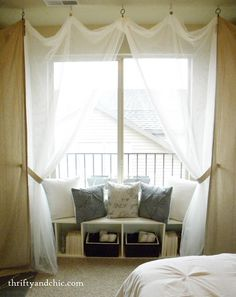 IKEA shelf made into window seat for guest room