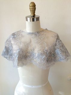 Metallic Silver Hooded Capelet One of Kind by thediamondseabridal on Etsy