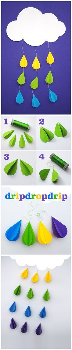 67 Ideas Diy Paper Mobile Baby Rain Drops For 2019 Kids Crafts, Diy And Crafts, Craft Projects, Projects To Try, Arts And Crafts, Diy Paper, Paper Crafts, Decoracion Low Cost, Spring Crafts