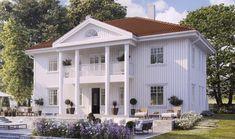Boligpartner bruker kannelerte 29 cm søyler på sine herskapelige hus Mansions, House Styles, Outdoor Decor, Home Decor, Crates, Decoration Home, Room Decor, Villas, Interior Design