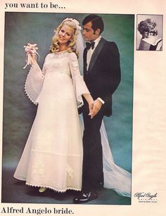 Weddingzilla: Vintage Retro Wedding Dress Photos Bride's Spring 1970  PURE 70s!