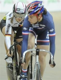 Germany's Kristina Vogel, left, and France's Sandie Clair compete in the Women's Sprint final race during the European Track Cycling Championships in Pruszkow, near Warsaw, Poland, Saturday, Nov. 6, 2010.