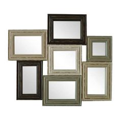 Featuring distressed wooden frames, this multi-aperture mirror blends light and dark wood and comes with all fixings for ease of hanging....