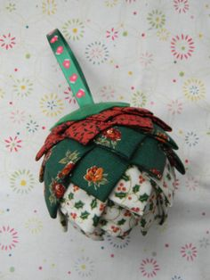 Fabric Christmas Ball perfect Christmas present by QuietCreation, $10.00