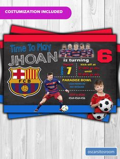 Invitación de Cumpleaños Futbol Club Barcelona Messi con Foto Messi Birthday, Football First Birthday, Soccer Birthday Parties, Sports Theme Birthday, Boy Birthday, Toy Story Invitations, Digital Invitations, Barcelona Soccer Party, 10th Birthday Invitation