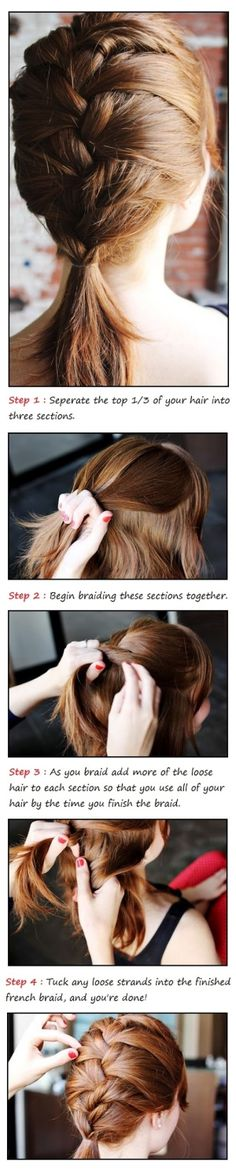How to french braid your own hair - Hairstyles and Beauty Tips. I've been wanting to French braid my friend's hair so bad but I didn't know how! Classic Hairstyles, Loose Hairstyles, Braided Hairstyles, Trendy Hairstyles, Layered Hairstyles, Beauty Tutorials, Beauty Hacks, Braiding Your Own Hair, Great Hair