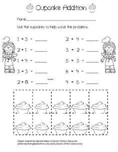 Cupcake addition worksheet-- free!