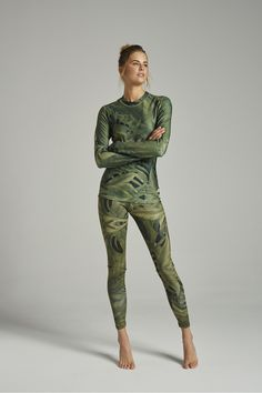 LEGGINSY TERMICZNE/FIRST LAYER LEGGINGS PAMO flora camo