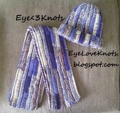 EyeLoveKnots: Crochet Adult Ribbing Beanie in Blue Camo - FREE PATTERN