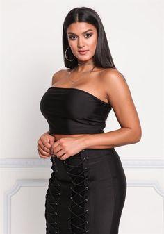 Plus Size Clothing   Plus Size Back Lace Up Crop Top   Debshops