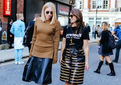 Sara Gilmour in a Finery top and Vanessa Coyle in Vetements top and Louis Vuitton skirt