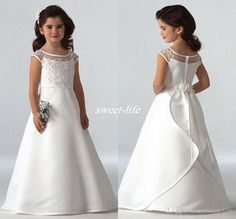 2016 Simple Flower Girls Dresses For Wedding Cap Sleeves Satin Floor Length Custom Made Jewel A-line First Communion Dresses For Girls Cheap Online with $53.08/Piece on Sweet-life's Store | DHgate.com