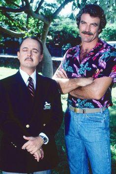 Higgins and Magnum 80 Tv Shows, Old Shows, John Hillerman, Oscar Winning Movies, Movie Market, Beard Game, Tv Detectives, Magnum Pi, Tom Selleck