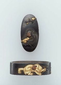 Fuchi-kashira with designs of monkeys and biwa fruit  Japanese, Edo Period…