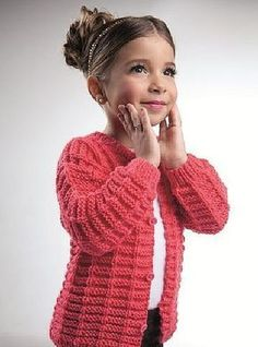Coral jacket for a girl with knitting needles. Discussion on LiveInternet - Russian Online Diary Service Kids Knitting Patterns, Knitting For Kids, Girls Sweaters, Baby Sweaters, Crochet Baby, Knit Crochet, Coral Jacket, Kids Poncho, Knitted Baby Cardigan