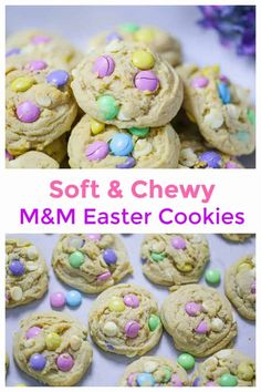 Soft & Chewy M&M Easter Cookies for Spring! - Add these amazing Soft & Chewy M&M Cookies to your Spring baking list! We can never have enough cookies, right? Not in this life-time, please! These fun and festive cookies could not be easier for Spring in Spring Treats, Spring Desserts, Spring Recipes, Easter Snacks, Easter Treats, Easter Recipes, Easter Desserts, Easter Food, Easter Baking Ideas