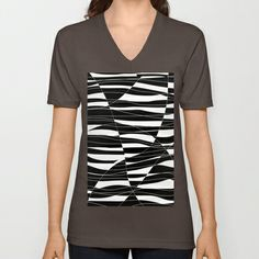 Carved Black and White Wave V-neck T-shirt by k_c_s - $24.00