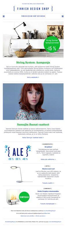 Finnish Design Shop, mailchimp newsletter