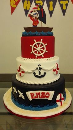 Torta marinero mickey Mickey Baby Showers, Baby Mickey, Mickey Party, Nautical Mickey, Nautical Cake, Mickey Mouse Marinero, Mickey Mouse Birthday Decorations, Sailor Party, Mickey Cakes