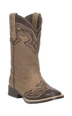 M&F Kids Tan with Brown Accent Square Toe Boots | Cavender's