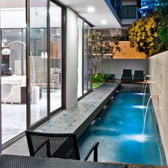 lap pool on a small lot. screen-house-by-renaissance-planners-amp-designers Small Backyard Pools, Backyard Pool Designs, Swimming Pools Backyard, Swimming Pool Designs, Lap Pools, Indoor Pools, Small Pools, Pool Decks, Pool Landscaping