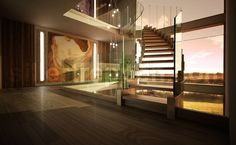 helical design stairs, helical stairs with glass railing, custom design, stair with bronze finish and wood treads, floating helical stair http://www.sillertreppen.com/en/siller-stairs/