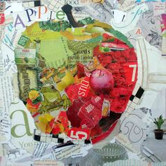 10x10 wrapped canvas, a torn magazine paper collage applied with matte medium after drawing an apple outline.
