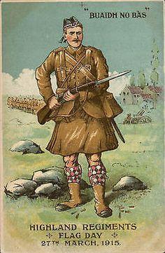 WWI. Highland Regiments Flag Day 1915. Buaidh No Bas. Fund Raising.