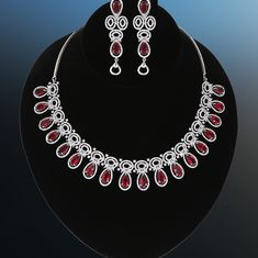 Rhodium Plated Reddish Pink Zircon studded Luxury Gemstone Jewelry for Women American Diamond Jewellery, Diamond Jewelry, Gemstone Jewelry, Jewelry Art, Jewelry Necklaces, Women Jewelry, Jewelry Design, Wedding Jewellery Designs, Wedding Jewelry