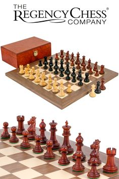 The Regency Chess Company - Madrid Tres Corone Ebony, Padouk and Walnut Chess Set - Handcrafted from three exotic hardwoods. Luxury Chess Sets, Chess Pieces, Knights, Regency, Madrid, Hardwood, Bedding, Gift Ideas, Traditional
