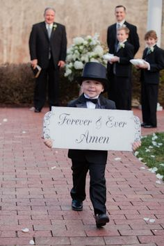 "Cute ending idea - or even better it can say ""they loved happily ever after"" front of sign could say ""here comes the bride"" when he walks in"
