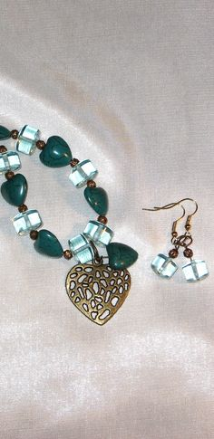 Dark Turquoise Colored Heart Necklace with by LadyLisaDesigns, $10.00