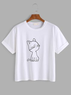 SheIn offers Cat Print Cuffed Tee & more to fit your fashionable needs. SheIn offers Cat Print Cuffed Tee & more to fit your fashionable needs. T Shirt Painting, Tee Online, Kawaii Clothes, Shirt Outfit, Printed Shirts, Shirt Designs, Cute Outfits, T Shirts For Women, Fashion Outfits