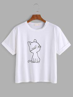 Camiseta con estampado de gato - blanco Romwe c706432e9d8
