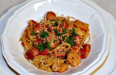 Shrimp and sausage pasta with creamy cherry tomato sauce - Mytaste.com