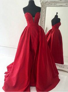 2016 Simple Red Prom Dress Satin Long Evening Gowns