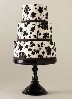 The pattern was inspired by a white dress with a black floral overlay #weddings #weddingcake