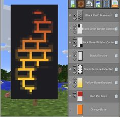minecraft building ideas When doing this. Instead of making a gradient yellow do a gradient red or use a yellow base and do a gradient red. Minecraft World, Easy Minecraft Houses, Minecraft Plans, Amazing Minecraft, Minecraft Tutorial, Minecraft Blueprints, Creeper Minecraft, Minecraft Crafts, Minecraft Redstone Creations