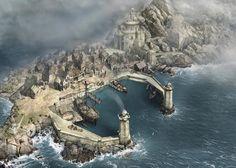 Evt. kleine Hafenstadt eines Zwergenclans und der Berg im Hintergrund ist ihre Clanburg?