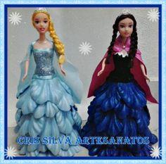 bonecas com vestido de e.v.a tema frozen
