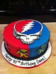 Grateful Dead cake. Skull & Dancing Bears drawn with royal icing
