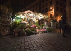 Flower shop at night in Rome