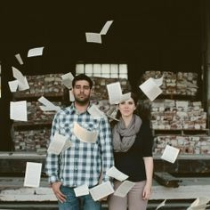 These guys got engaged at the NY Public Library so a local used bookstore made the perfect backdrop. Had some fun with book pages after!