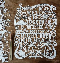 Paper cut of our wedding song!since we aren't Bonnie & Ricardo. Kirigami, Pretty Words, Paper Cutting, Cut Paper, Paper Design, Wood Crafts, Hand Lettering, Candy, My Love