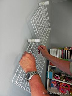 Craft Room Organization: PVC and Wire Shelf Paint Storage Mad in Crafts - craft storage Sewing Room Organization, Craft Room Storage, Storage Ideas, Storage Units, Craft Rooms, Organization Ideas, Storage Racks, Craft Room Organizing, Craft Room Ideas On A Budget