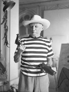 André  Villers · Picasso avec le chapeau et le colt affect par Gary Cooper, 1959, Cannes